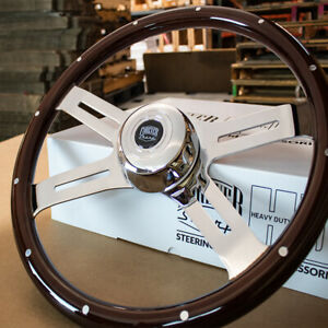18 Classic Steering Wheel Dark Wood With Traditional Horn Freightliner 96 06