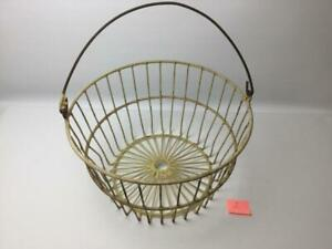 Vtg Coated Metal Wire Egg Gathering Basket 2 Yellow Farmhouse Garden Harvest