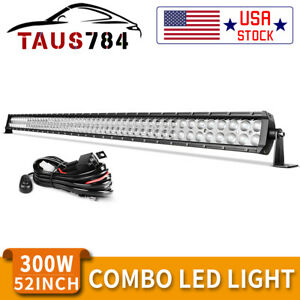 52 Inch 300w Led Light Bar Spot Flood Combo Driving Offroad For Jeep Truck Suv