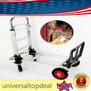 Heavy Duty 2 In 1 Convertible Aluminum Hand Truck 4 wheel Utility Cart
