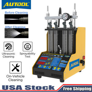 Hot Autool Ct150 4 Cylinder Ultrasonic Fuel Injector Tester Cleaner Service Kit