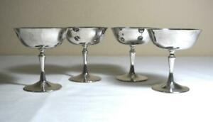 Set 4 Ec De Uberti Silverplate Goblets Made In Italy Stemmed Wine Champagne