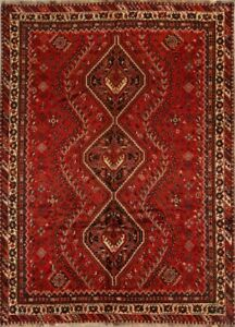 Tribal Oriental Area Rugs Hand Knotted Geometric Nomad Wool Old Carpet 7x10 Red