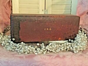 Antique Mens Wood Jewelry File Box Leather Cover Mono Jng Old Colony Dist Co