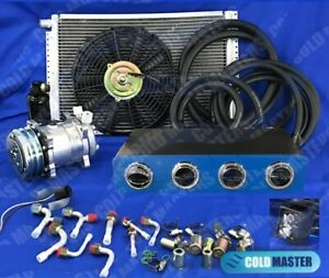 Universal Underdash Air Conditioner A c Kit 450 14x20 Elec harness Blue Chrome