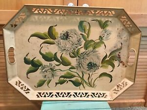 Vintage Large Hand Painted Signed Tole Tray Chrysanthemums Lattice Toleware