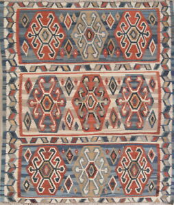 Vintage Geometric Kilim Oriental Area Rug Wool Hand Woven All Over Carpet 5x6