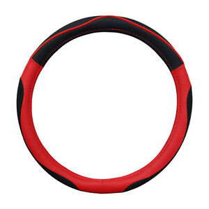 New Pu Black Red Sporty Steering Wheel Cover Universal 14 5 15 5 By Cpr