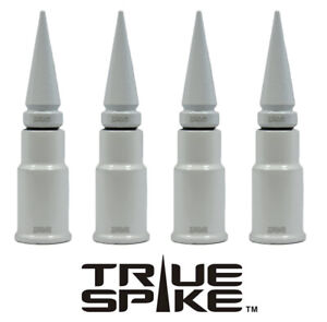 4 True Spike White Spiked Wheel Tire Air Valve Stem Cover Cap For Toyota Tacoma