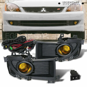 Yellow Bumper Driving Fog Light Lamp Kit For 2004 2006 Mitsubishi Lancer Pair