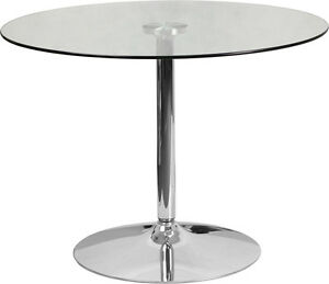 39 25 Round Restaurant Glass Table With Chrome Base Outdoor Cafe Table