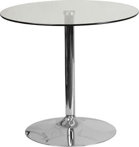 31 5 Round Restaurant Glass Table With Chrome Base Outdoor Cafe Table