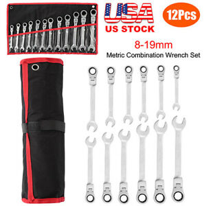 12pc 8 19mm Flexible Metric Combination Wrench Head Ratchet Spanner Tool Set