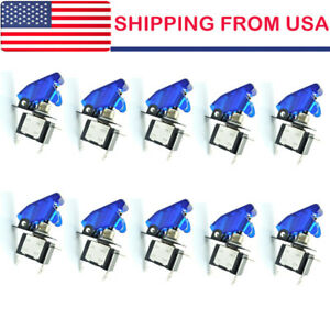 10 Blue Led Toggle Rocker Switch 12v 20a Spst On off For Car Boat Us Shipping