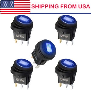 5 Rocker 12v Round Toggle On off 20a Car Snap In Switch Blue Led Light Us Stock