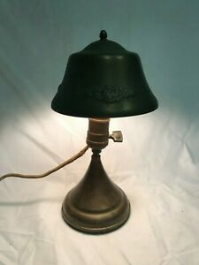 Vintage Brass Metal Desk Lamp With Embossed Clamp Shade