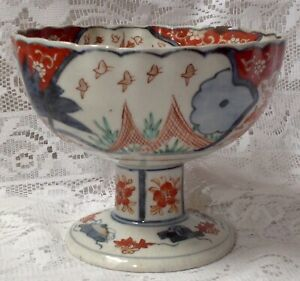 Chinese Antique Imari Pedestal Bowl Fluted With Scalloped Edges