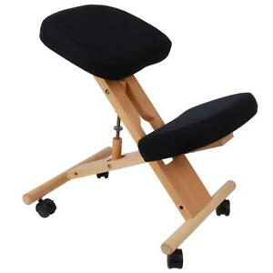 Ergonomic Gray Kneeling Posture Chair Padded Office Seat Knee Rest Wood Wheels