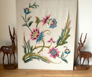 Vintage Embroidery Tapestry Panel Updated Jacobean Style Crewel Work Floral
