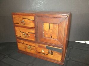 Apprentice Collectors Miniature Oak Cabinet With Inlay To Drawers