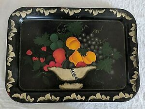 Vintage Hand Painted Mid Century Country Kitchen Fruit Tole Tray