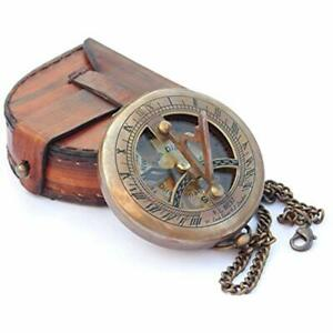 Brass Sundial Compass With Leather Case And Chain Push Open Steampunk Finish