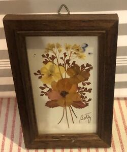 Vintage Dried Flowers Handmade Picture In Wood Frame Glass Small Rectangle Shape