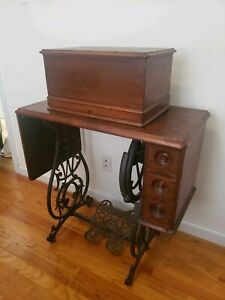 Antique Willcox Gibbs Treadle Sewing Machine Table With Ornate Cast Iron Base