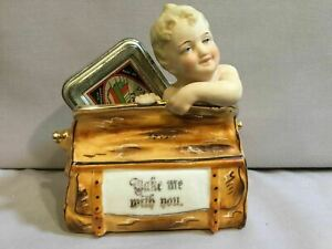 Packer S Tar Soap Tin All Bisque Figurine Baby In Suitcase Take Me With You