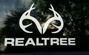 Realtree Decal Antler Logo Contour Cut Real Tree White Die cut Sticker