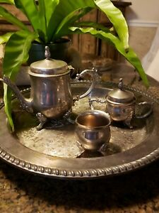 International Silver Co 3 Pc Tea Set Teapot Creamer Sugar With Plated Tray