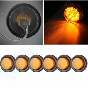 6x Amber 2 9led Round Truck Trailer Side Marker Clearance Light Lamp W Grommet