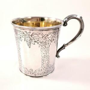 Antique English Victorian Sterling Mug Grapevine Motif
