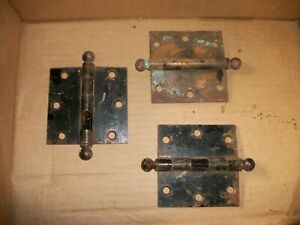 Vintage Stanley Copper Cannon Ball Door Hinges Lot 3 3 Inches Tall