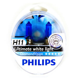 Philips Diamond Vision 5000k Headlight Bulb H11 55w Authentic Germany 1 Pair