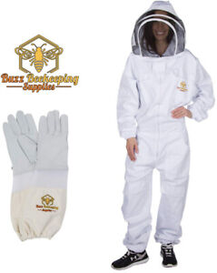 Professional Beekeeping Suit Goatskin Gloves 1 Pair And Bee Stickers Fencing
