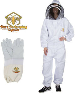 Professional Beekeeping Suit And Goatskin Gloves 1 Pair Self supporting Veil