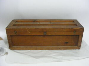Antique Vintage Old Wood Wooden Carpenters Tool Saw Box Chest