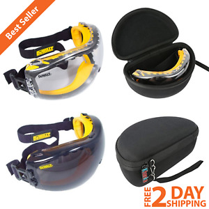 Anti fog Dual Mold Safety Goggles Clear Or Smoke Coated Lens Hard Travel Case