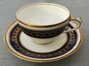 Princess Royal Cobalt Blue Gold Band Lace Cup Saucer Set White England