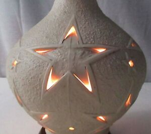 Rare Vintage Mid Century Mod Pierce Cut Pottery Teak Star Atomic Lamp Light A