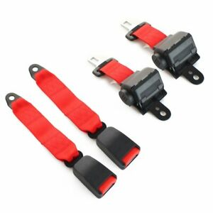 2pcs 2 Point Harness Retractable Safety Belt Lap Strap Buckle Clip Seatbelt Red