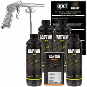 Truck Bed Liner Kit 4l Raptor Black Trailer Boat Bumper Auto Paint W Spray Gun