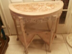 Antique Vintage Hand Carved Console Hall Half Mon Table Marble Top