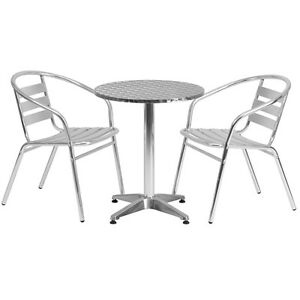 23 5 Round Aluminum Indoor outdoor Restaurant Table With 2 Slat Back Chairs