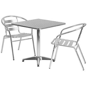27 5 Square Aluminum Indoor outdoor Table With 2 Slat Back Chairs