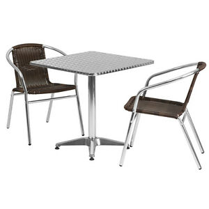 27 5 square Aluminum Indoor outdoor Restaurant Table With 2 Brown Rattan Chairs