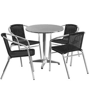 27 5 Round Aluminum Indoor outdoor Restaurant Table With 4 Black Rattan Chairs