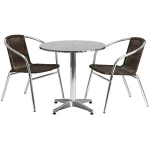 27 5 Round Aluminum Indoor outdoor Restaurant Table With 2 Brown Rattan Chairs