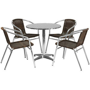 27 5 Round Aluminum Indoor outdoor Restaurant Table With 4 Brown Rattan Chairs